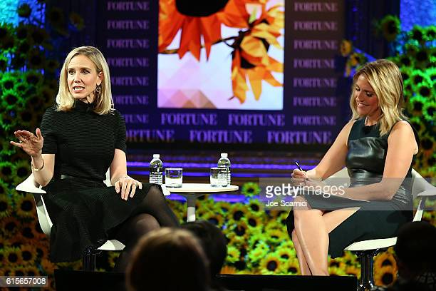 Marne Levine and Poppy Harlow speak onstage at the Fortune Most Powerful Women Summit 2016 at RitzCarlton Laguna Niguel on October 19 2016 in Dana...