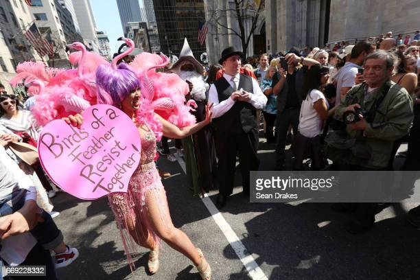 Marni Hal takes part in the Easter Parade on Fifth Avenue at St Patrick's Cathedral on April 16 2017 in New York City USA