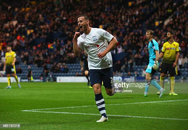 Marnick Vermijl of Preston North End celebrates scoring the opening goal during the Capital One Cup second round match between Preston North End and...