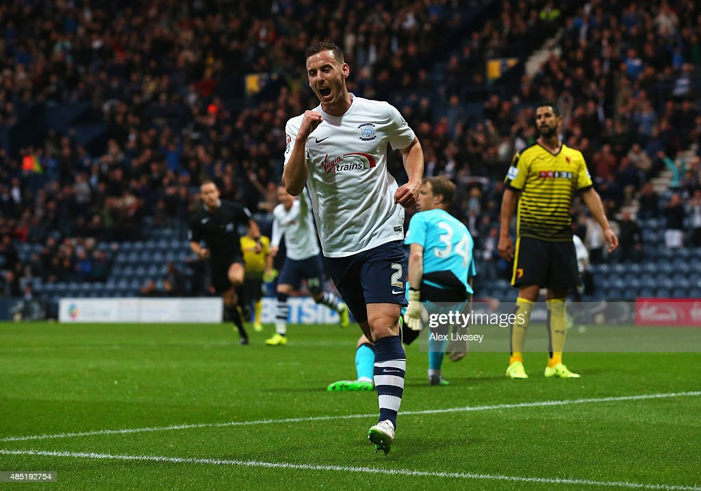 Marnick Vermijl of Preston North End celebrates scoring the opening goal during the Capital One Cup second round match between Preston North End and Watford at Deepdale on August 25, 2015 in Preston, England.