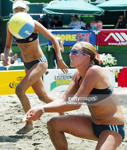 Marnie Grant digs the ball as team mate Anna Scarlett looks on during the beach volleyball tour match against Emilia and Erika Nystrom played at the...
