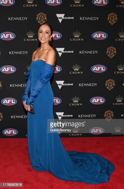 Marnie O'Connor arrives ahead of the 2019 Brownlow Medal at Crown Palladium on September 23 2019 in Melbourne Australia