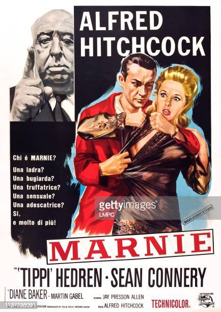 Alfred Hitchcock Sean Connery Tippi Hedren on Italian poster art 1964