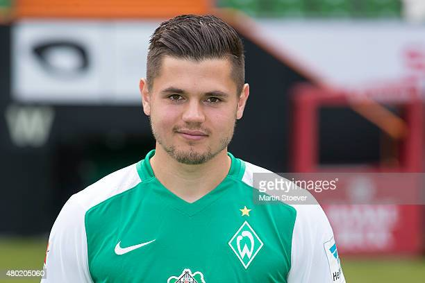 Marnon Busch poses during the official team presentation of Werder Bremen at Weserstadion on July 10 2015 in Bremen Germany