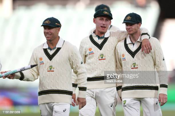 Marnus Labuschagne and Steve Smith of Australia speak as they leave the field after victory during day four of the Second Test match in the series...