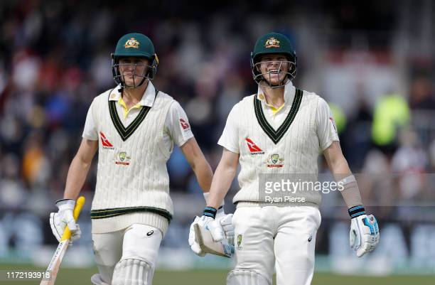 Marnus Labuschagne and Steve Smith of Australia walk from the ground at lunch during day one of the 4th Specsavers Test between England and Australia...