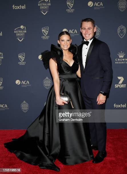 Marnus Labuschagne and wife Rebekah Labuschagne arrive ahead of the 2020 Cricket Australia Awards at Crown Palladium on February 10 2020 in Melbourne...