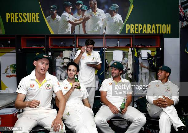 Marnus Labuschagne Kurtis Patterson Jhye Richardson Joe Burns and Usman Khawaja of Australia celebrate in the change rooms after day four of the...
