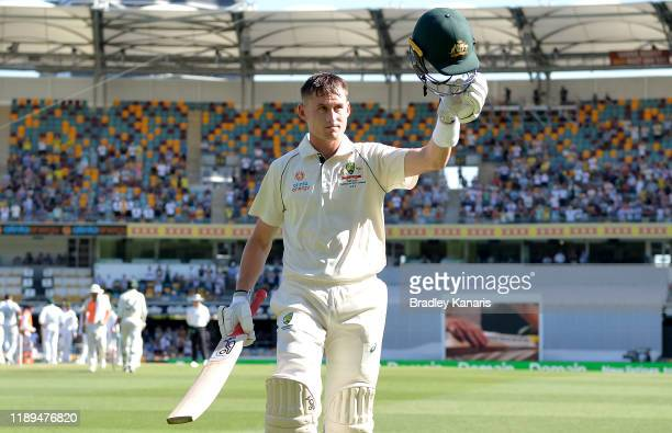 Marnus Labuschagne of Australia acknowledges the fans after being dismissed for 185 runs during day three of the 1st Domain Test between Australia...