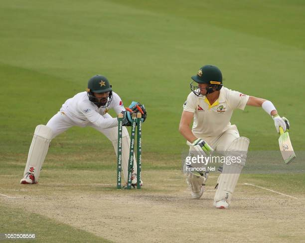 Marnus Labuschagne of Australia bats during day four of the Second Test match between Australia and Pakistan at Sheikh Zayed stadium on October 19...