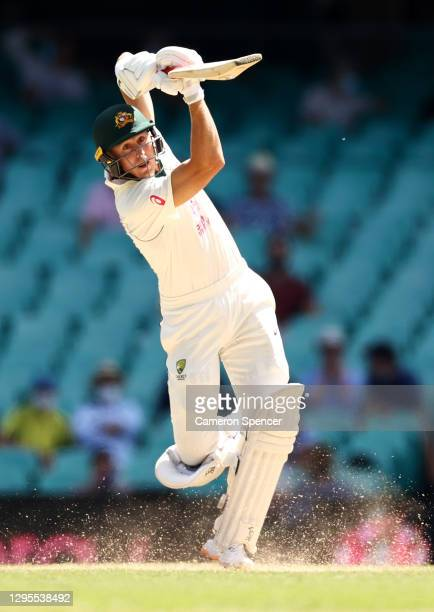 Marnus Labuschagne of Australia bats during day four of the Third Test match in the series between Australia and India at Sydney Cricket Ground on...