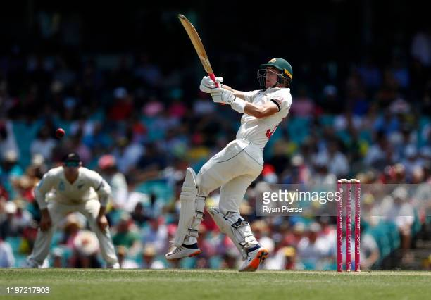 Marnus Labuschagne of Australia bats during day one of the Third Test match in the series between Australia and New Zealand at Sydney Cricket Ground...