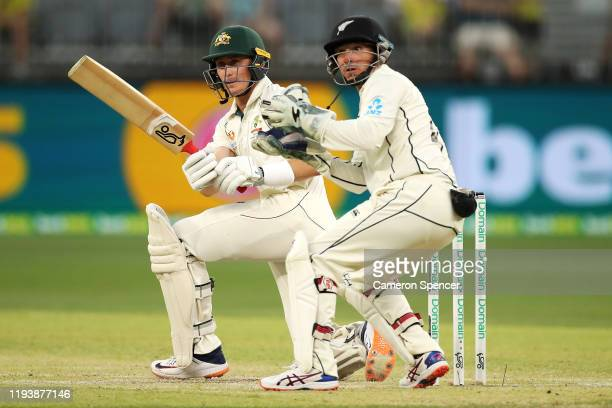 Marnus Labuschagne of Australia bats during day three of the First Test match in the series between Australia and New Zealand at Optus Stadium on...