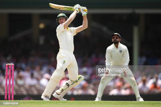 Marnus Labuschagne of Australia bats during day three of the Fourth Test match in the series between Australia and India at Sydney Cricket Ground on...