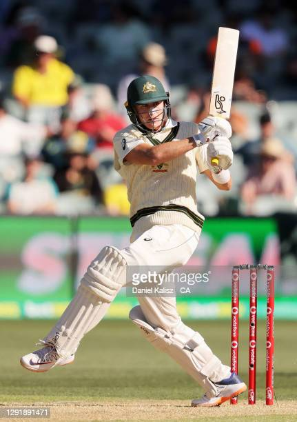 Marnus Labuschagne of Australia bats during day two of the First Test match between Australia and India at Adelaide Oval on December 18, 2020 in...