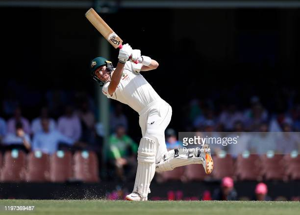 Marnus Labuschagne of Australia bats during day two of the Third Test match in the series between Australia and New Zealand at Sydney Cricket Ground...