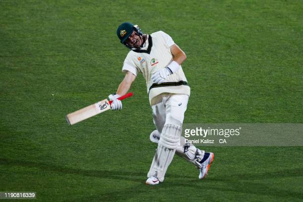 Marnus Labuschagne of Australia celebrates after reaching his century during day one of the 2nd Domain Test between Australia and Pakistan at...