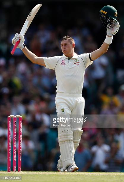 Marnus Labuschagne of Australia celebrates after reaching his century during day one of the Third Test match in the series between Australia and New...