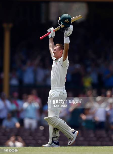 Marnus Labuschagne of Australia celebrates after reaching his double century during day two of the Third Test match in the series between Australia...