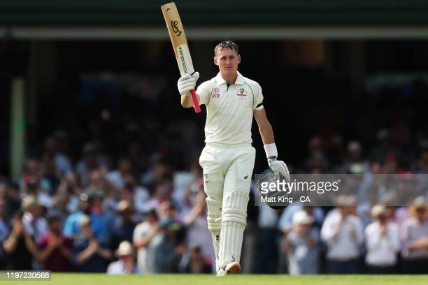 Marnus Labuschagne of Australia celebrates and acknowledges the crowd after scoring a century during day one of the Third Test match in the series...