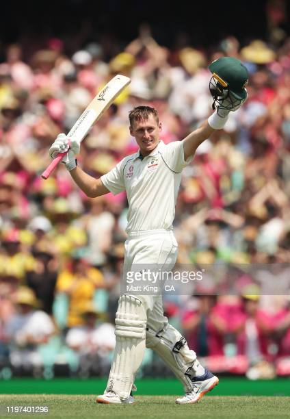 Marnus Labuschagne of Australia celebrates and acknowledges the crowd after scoring a double century during day two of the Third Test match in the...
