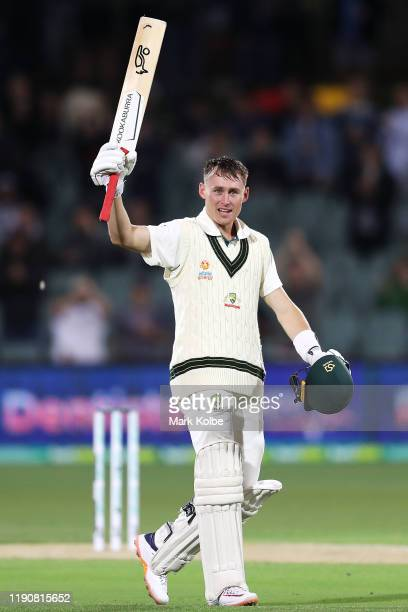 Marnus Labuschagne of Australia celebrates his century during day one of the 2nd Domain Test between Australia and Pakistan at Adelaide Oval on...