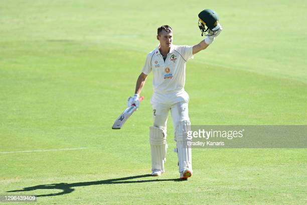 Marnus Labuschagne of Australia celebrates scoring a century during day one of the 4th Test Match in the series between Australia and India at The...