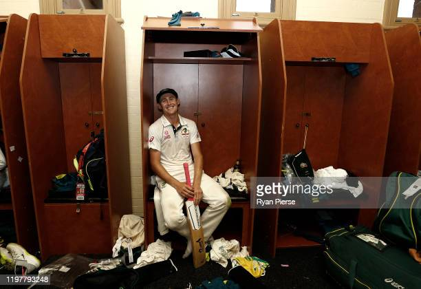 Marnus Labuschagne of Australia celebrates victory in the change rooms after day four of the Third Test Match in the series between Australia and New...
