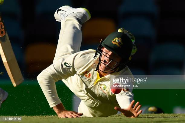 Marnus Labuschagne of Australia drops a catch during day three of the First Test match between Australia and Sri Lanka at The Gabba on January 26...