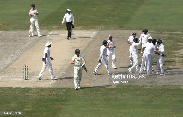 Marnus Labuschagne of Australia is dismissed by Bilal Asif of Pakistan during day three of the First Test match in the series between Australia and...