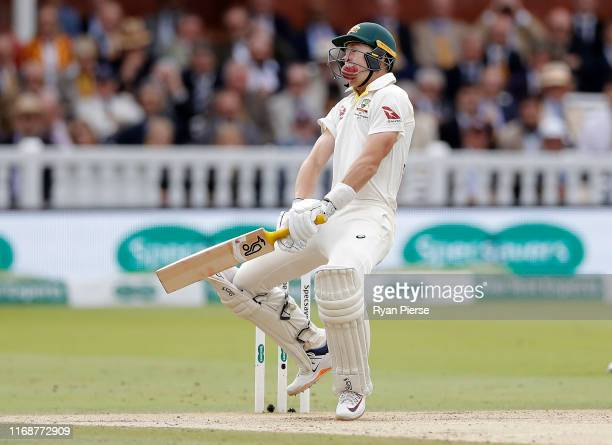 Marnus Labuschagne of Australia is struck on the helmet by a delivery from Jofra Archer of England during day five of the 2nd Specsavers Ashes Test...
