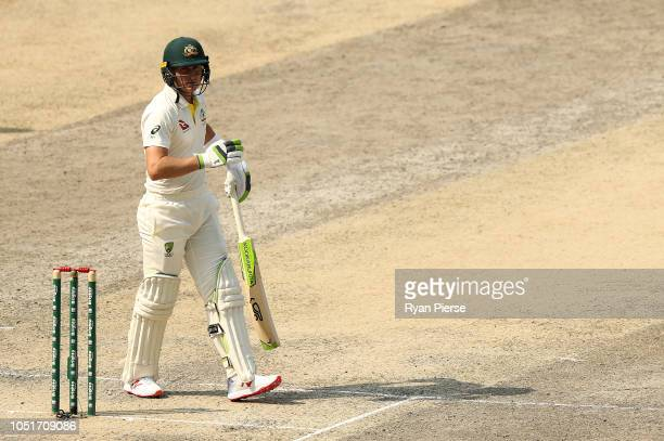 Marnus Labuschagne of Australia looks dejected after being dismissed by Bilal Asif of Pakistan during day three of the First Test match in the series...