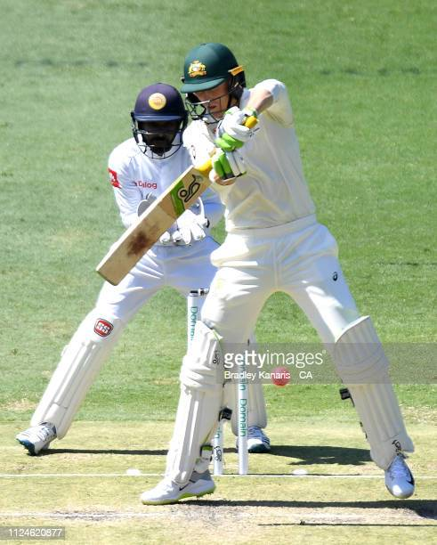Marnus Labuschagne of Australia plays a shot during day two of the First Test match between Australia and Sri Lanka at The Gabba on January 25 2019...