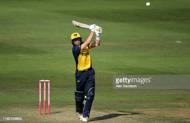 Marnus Labuschagne of Glamorgan bats during a T20 Friendly match between Glamorgan and Netherlands at Sophia Gardens on July 04, 2019 in Cardiff,...