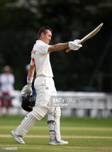 Marnus Labuschagne of Glamorgan celebrates after scoring a century during Day Three of the Specsavers County Championship Division Two match between...