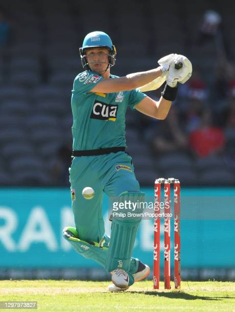 Marnus Labuschagne of Heat hits out during the Big Bash League match between the Melbourne Renegades and the Brisbane Heat at Marvel Stadium, on...