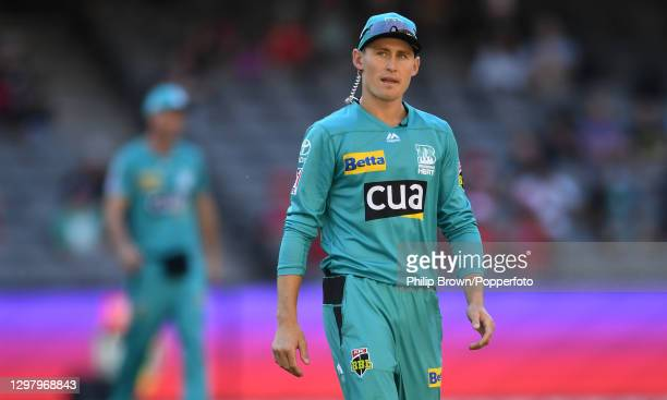 Marnus Labuschagne of Heat looks on during the Big Bash League match between the Melbourne Renegades and the Brisbane Heat at Marvel Stadium, on...