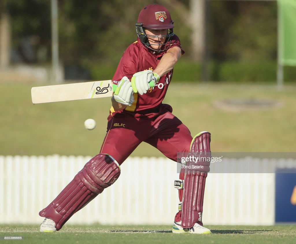 Marnus Labuschagne of QLD plays a shot during the JLT One Day Cup match between Queensland and the Cricket Australia XI at Allan Border Field on September 29, 2017 in Brisbane, Australia.