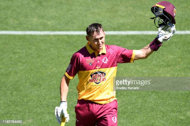 Marnus Labuschagne of Queensland acknowledges the fans after being dismissed and scoring a century of runs during the Marsh One Day Cup match between...