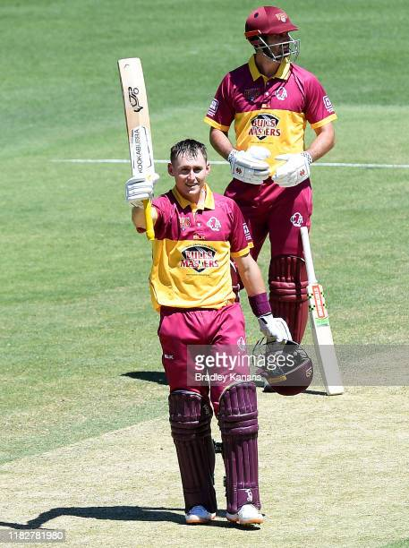 Marnus Labuschagne of Queensland celebrates scoring a century during the Marsh One Day Cup match between Queensland and South Australia at The Gabba...