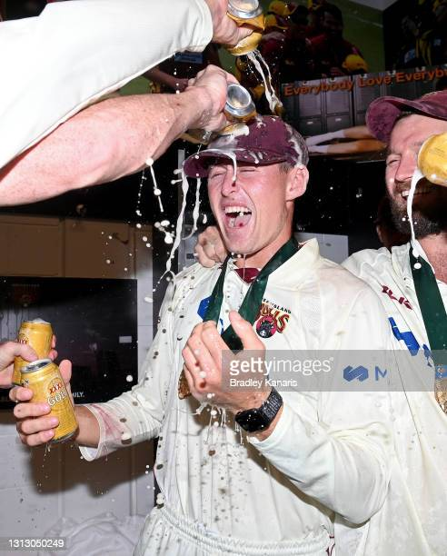Marnus Labuschagne of Queensland celebrates victory during day four of the Sheffield Shield Final match between Queensland and New South Wales at...