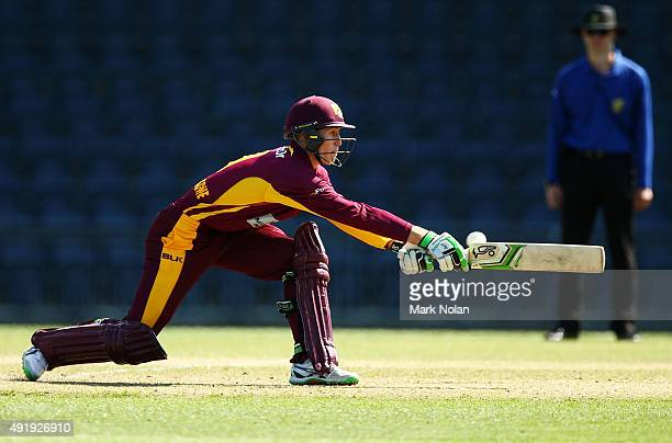 Marnus Labuschagne of Queensland plays a reverse sweep and is dimissed given LBW during the Matador BBQs One Day Cup match between Victoria and...