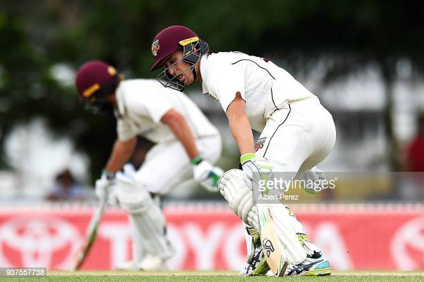 Marnus Labuschagne of Queensland runs between the wickets during day three of the Sheffield Shield Final match between Queensland and Tasmania at...