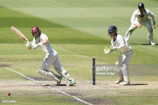 Marnus Labuschagne of Quennsland bats during day four of the Sheffield Shield match between Victoria and Queensland at Melbourne Cricket Ground on...