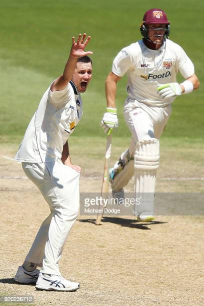 Marnus Labuschagne of Quennsland survives an appeal from Chris Tremain of Victoria during day four of the Sheffield Shield match between Victoria and...