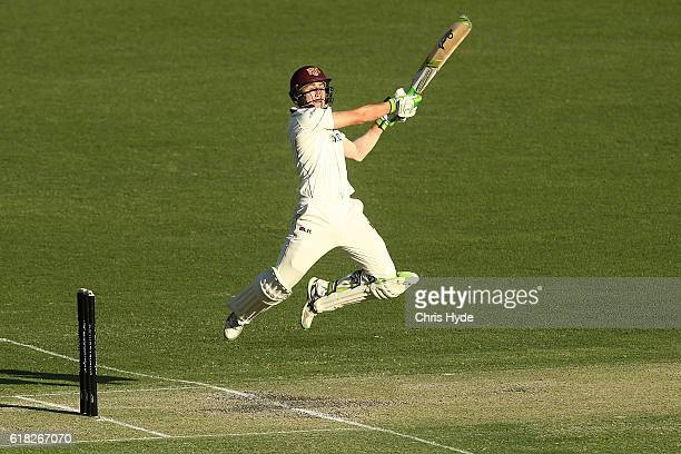 Marnus Labuschagne of the Bulls bats during day two of the Sheffield Shield match between Queensland Bulls and New South Wales Blues at The Gabba on...