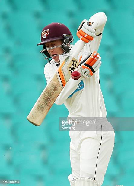Marnus Labuschagne of the Bulls defends a short ball from Mitchell Starc of the Blues during day one of the Sheffield Shield match between New South...