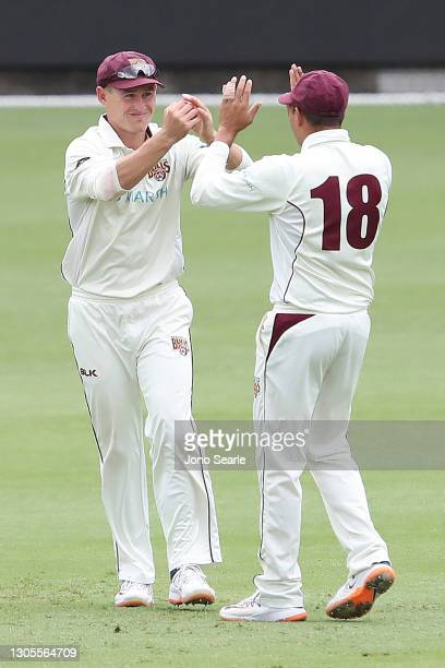Marnus Labuschagne of the Bulls takes a catch during day one of the Sheffield Shield match between Queensland and Western Australia at The Gabba on...