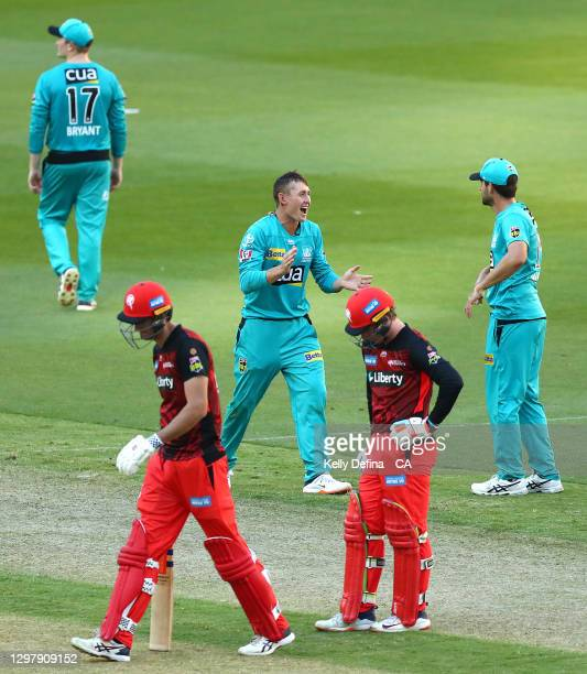 Marnus Labuschagne of the Heat celebrates the dismissal of Beau Webster of the Renegades during the Big Bash League match between the Melbourne...