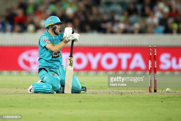 Marnus Labuschagne of the Heat looks dejected after being run out by Chris Green of the Thunder during the Big Bash League match between the Sydney...